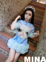 MINA the cutest puppy Dress สีฟ้า พาสเทล น่ารักมุ้งมิ้ง กระดิ่งแมว ค๊า ฟูฟ่องกันมาเลยค่ะ กับช่วงปลายแขนและปลายเดรส น่ารักมากๆ งานเพ้นลายสีคมชัด บวกกับเนื้อผ้าที่นิ่มน่าสวมใส่ รับรองใส่ชุดนี้มีเกิดค่ะ งานเกรด Premium Quality Cliona Confirm จร้าา