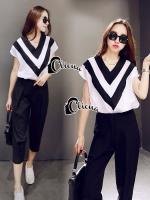 Line Deep V Shirt + Black Pant Set
