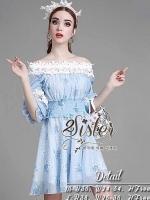 Blue Mini Sexy Vintage Flora Dress