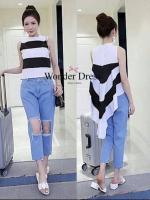 SET TOP & DENIM PANT KOREA DESIGN BY WONDER DRESS SHOP เสื้อคอกลม ผ้าCotton แต่งหน้าสั้นหลังยาว ผ้าลายขวางขาวดำ จับคู่มากับกางเกงยีนส์สีฟอกทรงสวยแต่งขาดด้านหน้าขา น่ารักมาก ค่สาวๆทุกท่านห้ามพลาดน่ะค่ะ แม่ค้าการันตรีเลยค่ะ ......สีเดียวตามแ
