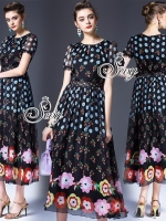 Printed Flora Dot Lace Waist Maxi Dress