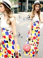 Lace Bust Colorful Polka Dot Maxi Dress