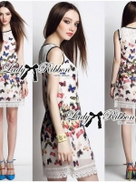 Lace Colourful Butterfly Printed Dress
