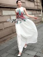 Lady Jennie Elegant Flower Blooming Printed Maxi Dress