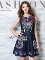 Lily Sweet Casual Flower Embroidered Denim Dress