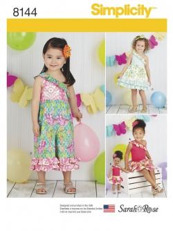 Pre-Order Simplicity (8144) แพทเทิร์นตัดเสื้อผ้าเด็กหญิง ไซส์ 6M-1-2-3-4 พร้อมชุดตุ๊กตาขนาด 18 นิ้ว
