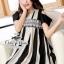 Monochrome striped shoulder cut mini dress thumbnail 1