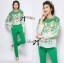 Lady Kristin Insert Lace Printed Chiffon Blouse with Skinny Trousers Set thumbnail 1