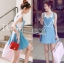 Lindsay Heart-Shaped Overall Denim Dress thumbnail 1
