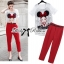 Lady Sophia Girl Printed Top and Red Cigarette Pants Set thumbnail 1