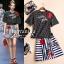 D&G dots retro striped shirt embroidered skirt Set thumbnail 1