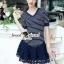 Chill V Collar Stripe Lace Tail Dress thumbnail 1