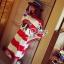 Bull Dog Head Striped Mini Dress thumbnail 1