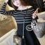 Striped Knit Shoulder Long Sleeve Mini Dress thumbnail 1