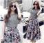 Lace Jumper and Floral Printed Midi Skirt Set thumbnail 1
