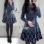 Long Sleeve Round Neck Hollow Mini Dress thumbnail 1