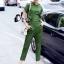 Eva Military Green Shirt + Pant Set thumbnail 1