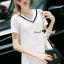 Seoul Secret Say's...Stripy V Collar Lace Chill Dress Material : สวยเก๋สไตล์สาวหวานเก๋ ด้วยมินิเดรสคอวี หวานๆ ด้วยเนื้อผ้าลูกไม้เนื้อนุ่มเติมความเก๋ด้วยงานเย็บแต่งด้วยริบบิ้นผ้ายืดสไตล์สาวเก๋แต่ที่คอ ใส่ง่ายแมตซ์ง่าย จะเป็นเดรสหรือใส่คู่กับกางเกงยีนส thumbnail 1