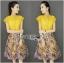 Lady Candice Casual Mustard Cotton Shirt and Printed Skirt Set thumbnail 1