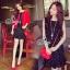 Sevy Two Pieces Of Polka Dot Sleeveless Elastic Waist With Red Crop Jacket Sets Type: Mini Dress+Jacket Fabric: Mini Dress(Cotton)+Jacket(Knit) Detail: Sets เสื้อคลุมแขนทรงตุ๊กตาผ้าไหมพรมตัวสั้น มาพร้อมเข้าเซทกับเดรสสั้นลายจุดขาวดำแขนกุ๊ด ช่วงเอวจับสม้อค thumbnail 1