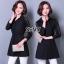 Shirt Dress สีดำคอปกแขนยาว ยางยืดรอบเอว กระดุมหน้าทั้งตัว ช่วงแขนเย็บต่อชีทรูด้านบนเป็นตาข่าย thumbnail 1